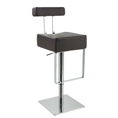 Clower Modern Adjustable Height Upholstered Swivel Bar Stool Upholstery: Black