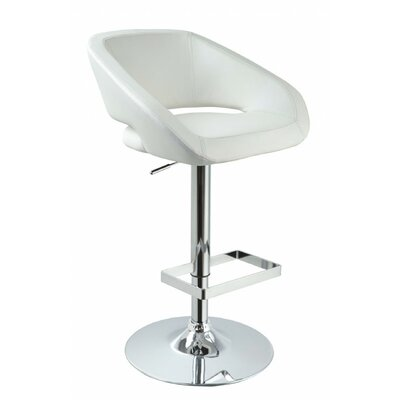 Clower Contemporary Low Back Adjustable Height Swivel Bar Stool Upholstery: White