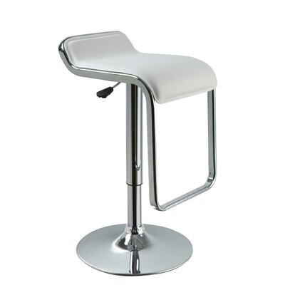 Patterson Adjustable Height Swivel Bar Stool Upholstery: White