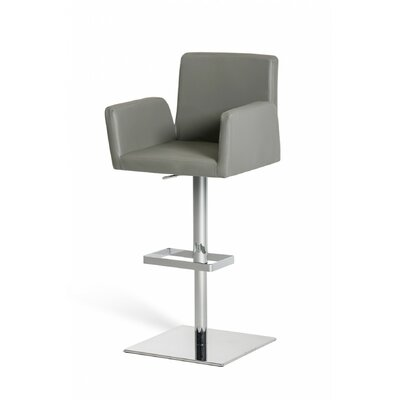 Clower Adjustable Height Upholstered Swivel Bar Stool with Footrest Upholstery: Gray