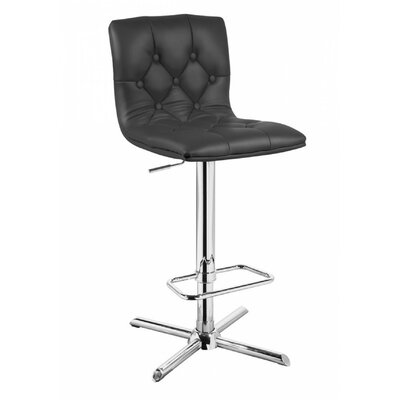 Clower Modern Full Back Adjustable Height Swivel Bar Stool Upholstery: Black