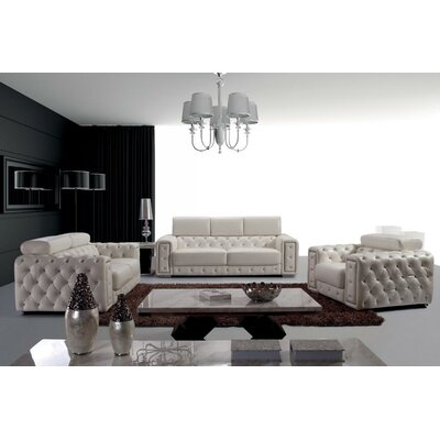 Coalpit Heath Contemporary 3 Piece Leather Living Room Set
