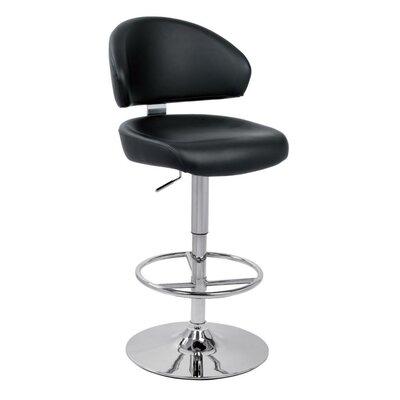 Belafonte Adjustable Height Swivel Bar Stool Upholstery Color: Black