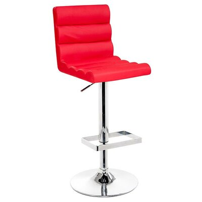 Belafonte Adjustable Height Swivel Bar Stool Upholstery: Red