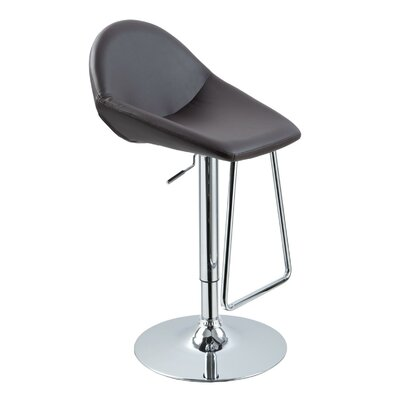 Camron Adjustable Height Metal Framed Swivel Bar Stool Upholstery Color: Brown