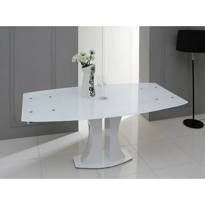 Camron Modern Extendable Glass Top Dining Table