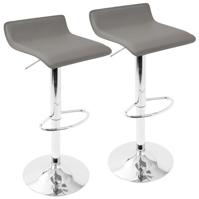 Dan Adjustable Height Swivel Bar Stool with Cushion Color: White