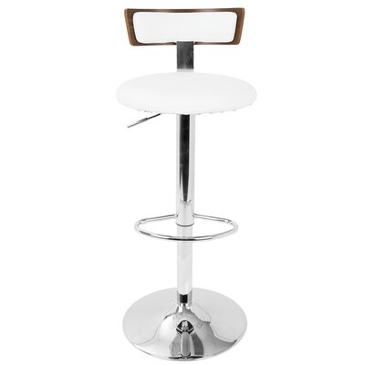 Jaidyn Adjustable Height Swivel Bar Stool Finish: Walnut/White