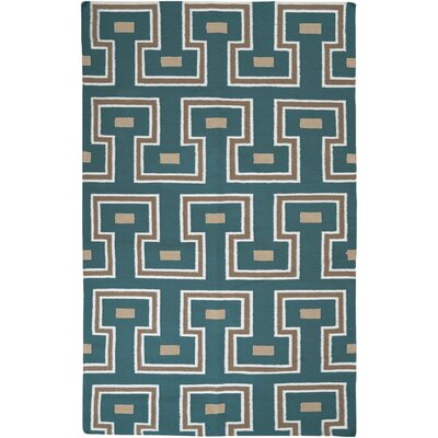 Adan Teal Green Geometric Area Rug Rug Size: Rectangle 8 x 11