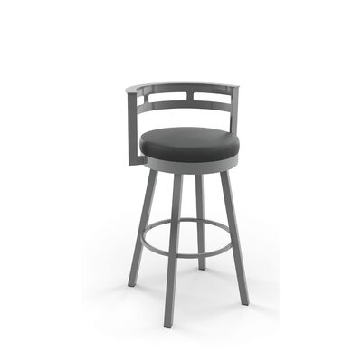 Brookford 30.63 Swivel Bar Stool Finish: Glossy Grey/Matte Charcoal Black