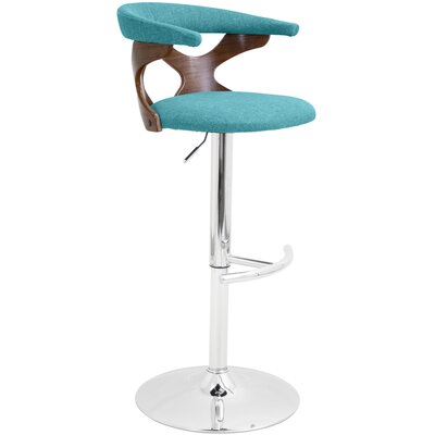East Wakulla Swivel Adjustable Bar Stool Upholstery: Teal