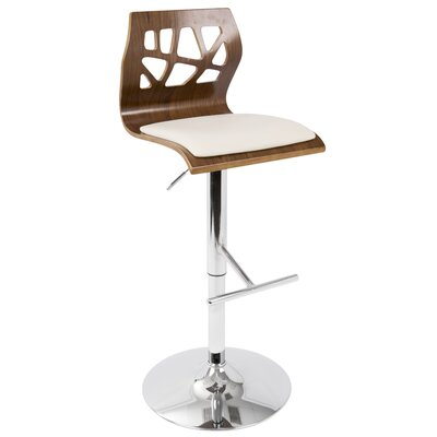 Little Badminton Swivel Adjustable Height Bar Stool Upholstery: Walnut/ Cream