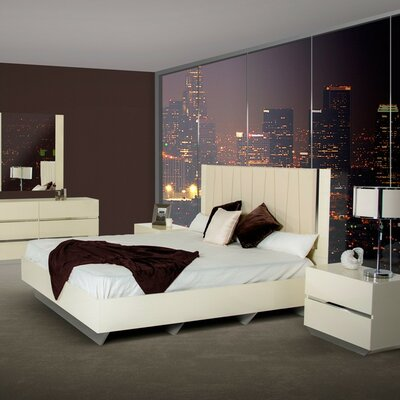 Decastro Contemporary Upholstered Wood Framed Panel Bed Size: Queen, Finish: Ebony