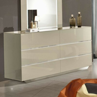 6 Drawer Double Dresser Color: Beige
