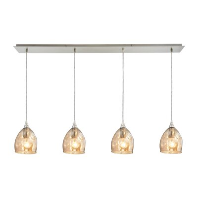 Victor 4-Light Kitchen Island Pendant Shade Color: Champagne Plated