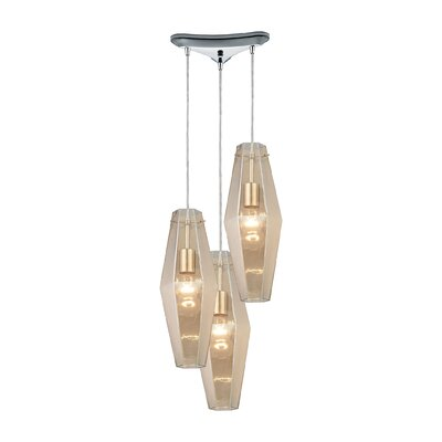 April 3-Light Cascade Pendant Shade Color: Black Chrome
