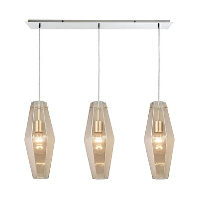 April 3-Light Kitchen Island Pendant Shade Color: Champagne Plated