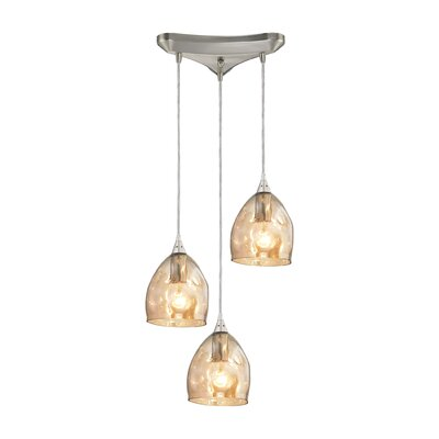 Victor 3-Light Cascade Pendant Shade Color: Black Chrome