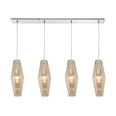 Hartford 4-Light Kitchen Island Pendant Shade Color: Champagne Plated