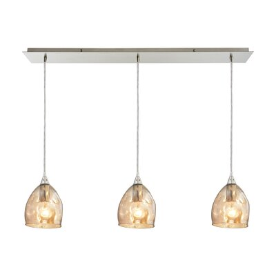 Victor 3-Light Kitchen Island Pendant Shade Color: Champagne Plated
