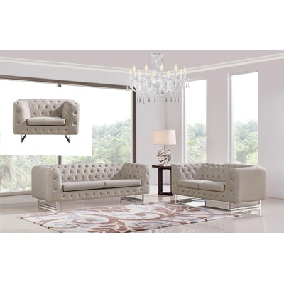 Cana Modern 3 Piece Solid Sofa Set