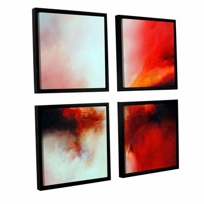 'Portent' 4 Piece Framed Painting Print on Canvas Set Size: 36