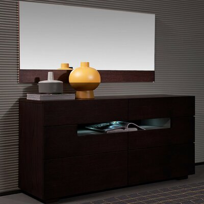 Camron Contemporary 6 Drawer Dresser with Mirror