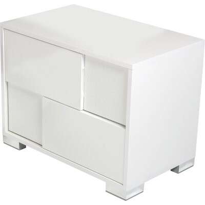 Marley 2 Drawer Nightstand Finish: White, Orientation: Left Facing