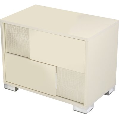 Camron Contemporary 2 Drawer Wood Top Nightstand Finish: Beige, Orientation: Left Facing