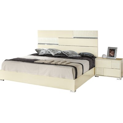 Camron Panel Bed Size: Eastern King, Color: Beige