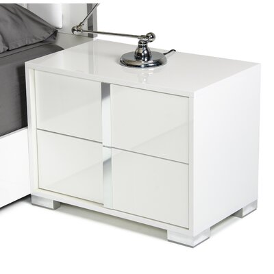 Marley 2 Drawer Nightstand Finish: White, Orientation: Right Facing