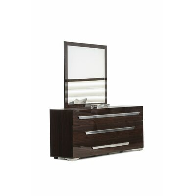 Camron Modern 3 Drawer Wood Dresser with Mirror