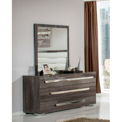 Camron Contemporary 3 Drawer Wood Dresser with Mirror
