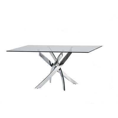 Camron Modern Glass Top Metal Base Dining Table