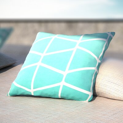 Cotton Throw Pillow Size: 20 H x 20 W x 4 D, Color: Aqua/Ivory