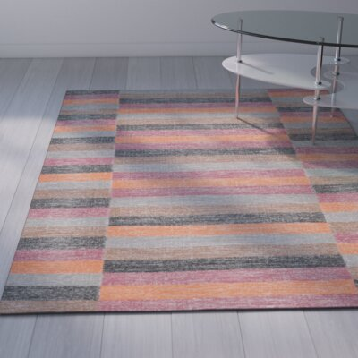 Mata Striped Kilim Rust Area Rug Rug Size: 5 x 8