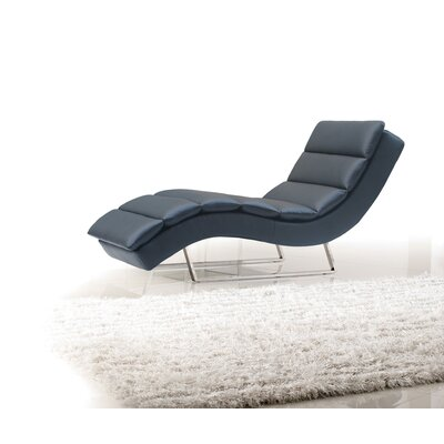 Bandera Leather Chaise Lounge Upholstery: Black
