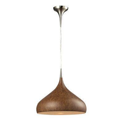 Alan 1-Light Wood Shade Mini Pendant Finish: Burl Wood and Satin Nickel, Bulb Type: 100W Med. Bulb