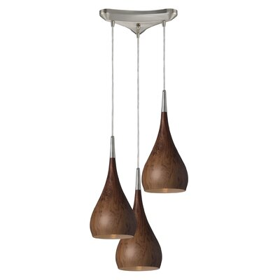 Alan 3-Light Wood Shade Pendant Shade Color: Satin Nickel