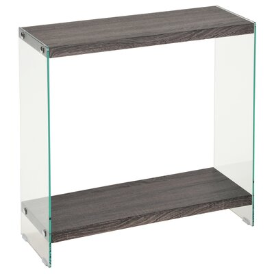 Briarden Glass / Faux Reclaimed Wood Console Table Finish: Gray Reclaimed