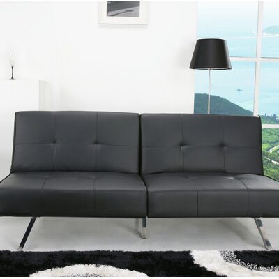 Reily Leatherette Convertible Sofa Upholstery: Black