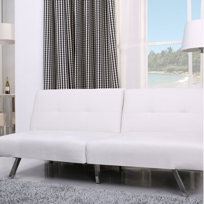 Reily Leatherette Convertible Sofa Upholstery: White
