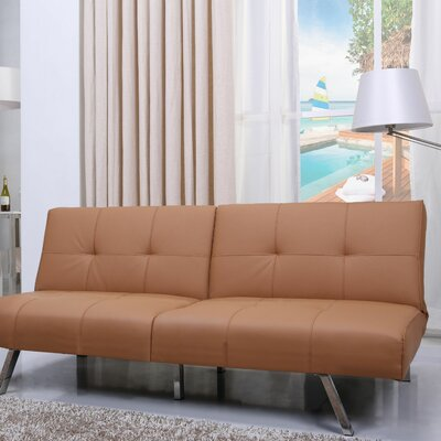 Reily Leatherette Convertible Sofa Upholstery: Camel
