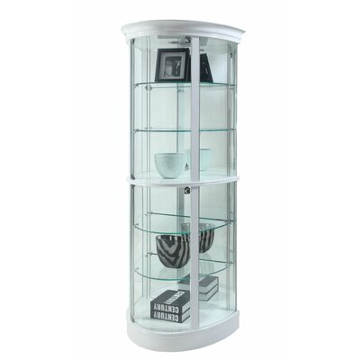 Doswell Semi Circle Tempered Glass-Shelf Curio Cabinet