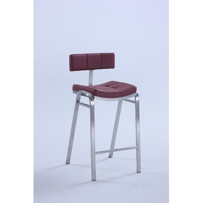 Harshad Counter Height Bar Stool (Set of 2) Upholstery: Red