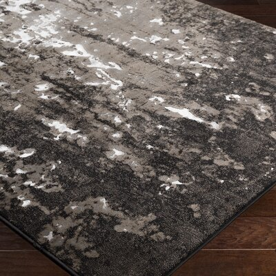 Ariel Black Area Rug Rug Size: Rectangle 53 x 76