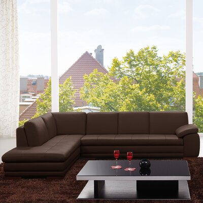 Jerald Leather Sectional Upholstery: Brown, Orientation: Right Hand Facing