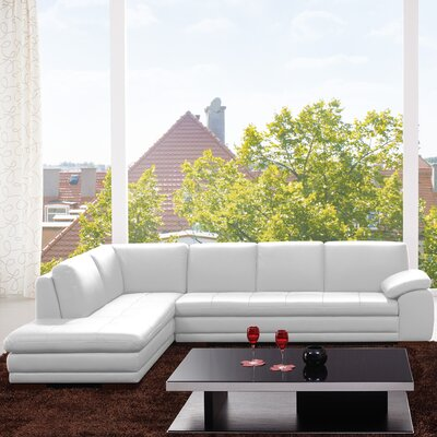 Jerald Leather Sectional Upholstery: White, Orientation: Right Hand Facing