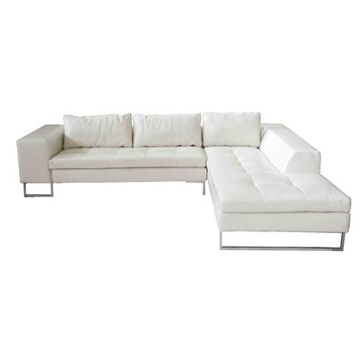 Arya Sectional Orientation: Right Hand Facing, Upholstery: White Shiny