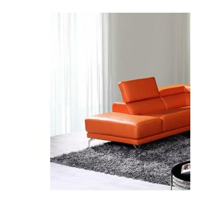 Cana Cushion Back Leather Sectional Upholstery: Orange, Orientation: Right Hand Facing